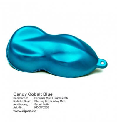 KandyDip® Candy Cobalt Blue Matt + 2K High Gloss (Schwarze Basis + True Aluminium Silver + Candy Cobalt Blue)