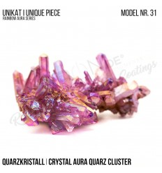Rainbow Aura Crystal Quarz Cluster Typ 31 Bedampft