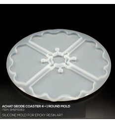 Achat Geode 4+1 Coaster Mold / Silikonform
