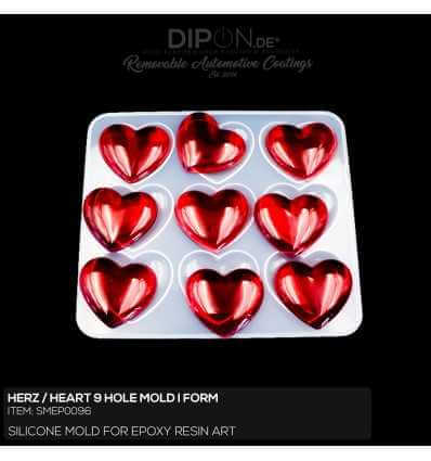 Herz I Heart 9 Hole Mold / Silikonform
