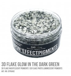 3D Flake Glow in the Dark Green
