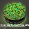 3D Flake Glow in the Dark Yellow Green