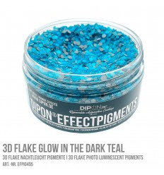 3D Flake Glow in the Dark Teal