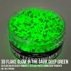 3D Flake Glow in the Dark Deep Green