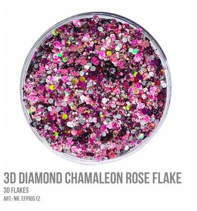 3D Diamond Chamaleon Rose Flake