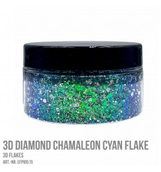3D Diamond Chamaleon Cyan Flake