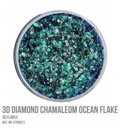 3D Diamond Chamaleon Ocean Flake
