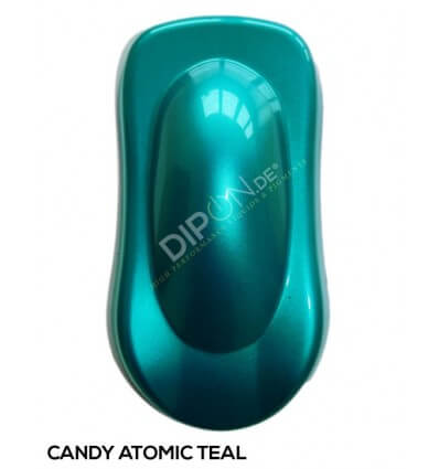 KandyDip® Candy Atomic Teal Matt + 2K High Gloss (Schwarze Basis + True Aluminium Silver + Candy Atomic Teal Matt)